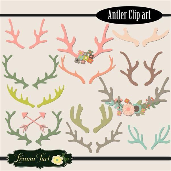 Wedding pinterest antlers paper. Antler clipart craft