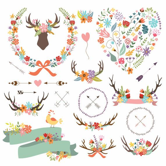 Arrows clipart shabby chic. Antler arrow by cutepaperstudio