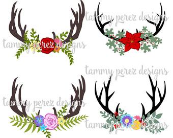 Floral svg deer monogram. Antler clipart craft