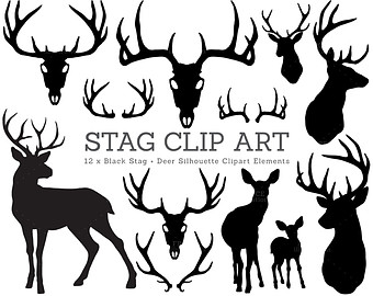 Antler clipart craft. Stag silhouette deer christmas