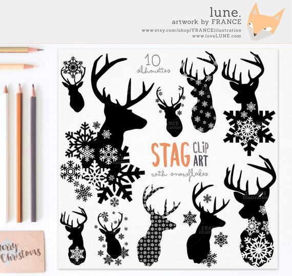 for stag snowflake. Antlers clipart craft