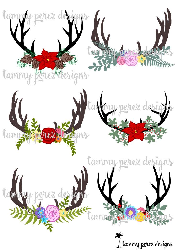 Deer flowers monogram svg. Antler clipart craft
