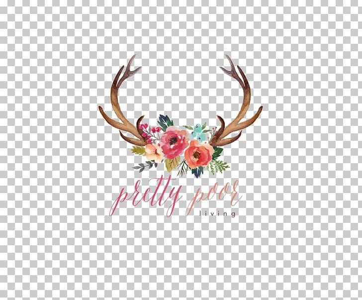 Deer watercolor painting flower. Antler clipart cute