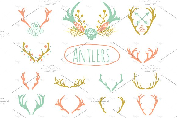 Deer icons creative market. Antlers clipart cute
