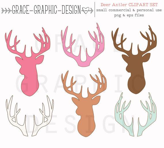 Antlers silhouettes eps vector. Antler clipart deer horn