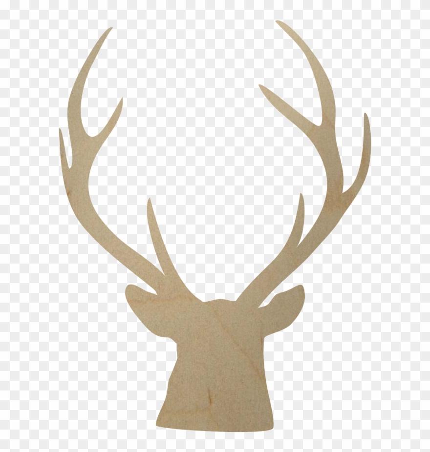 Wooden shape diy . Antler clipart deer rack