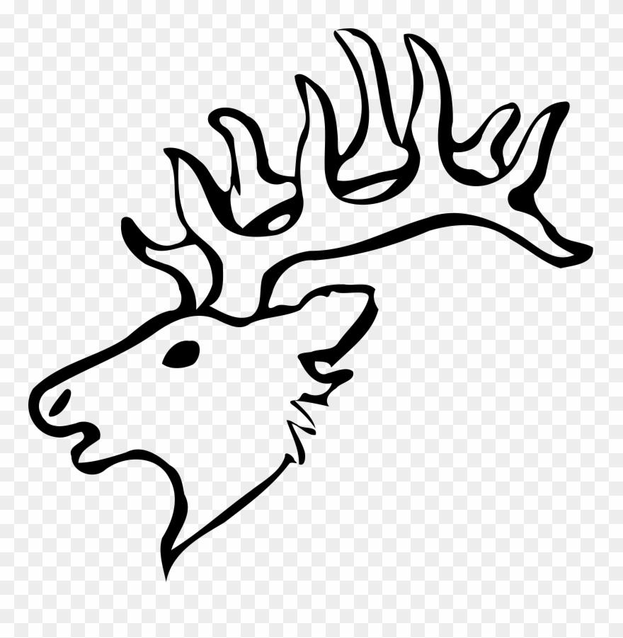 Antlers clipart easy. Reindeer elk head drawing