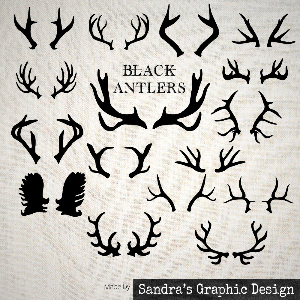 Antler clipart draw. Black antlers with hand