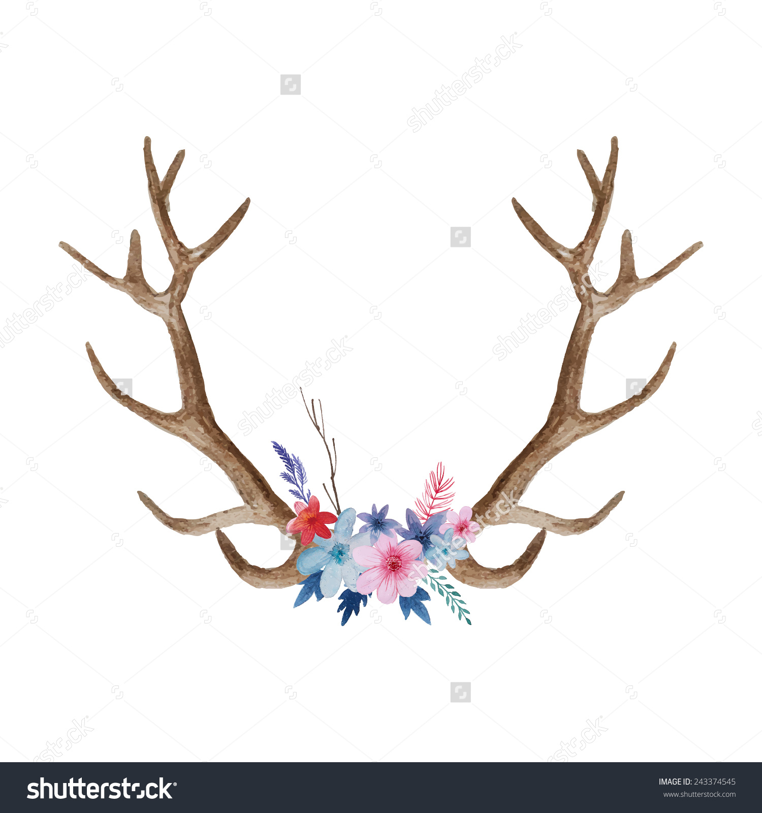 Deer drawing easy animal. Antler clipart draw