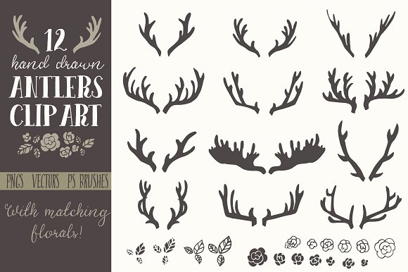 Hand drawn antlers clip. Antler clipart draw