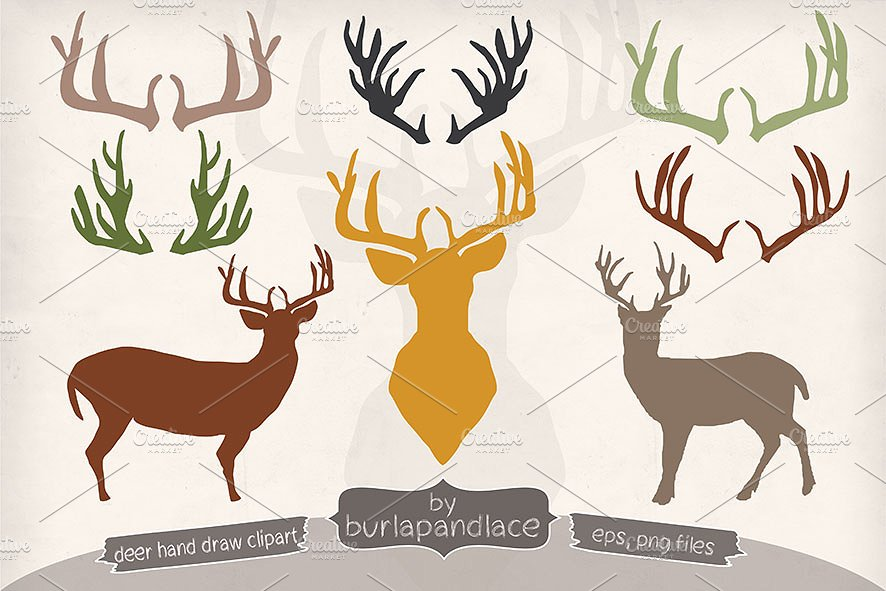 Antler clipart draw. Hand deer antlers illustrations