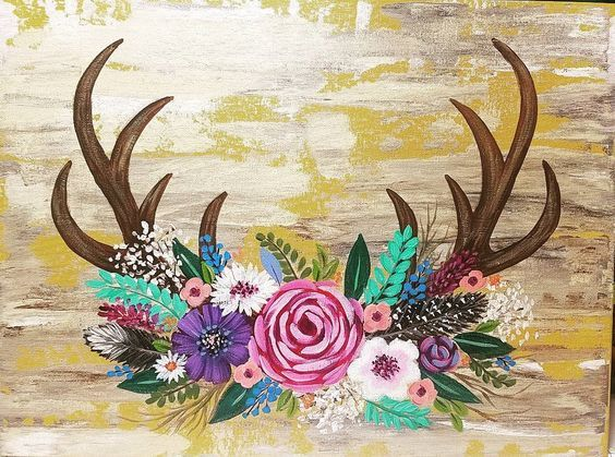 Antler clipart easy. Antlers with flowers art