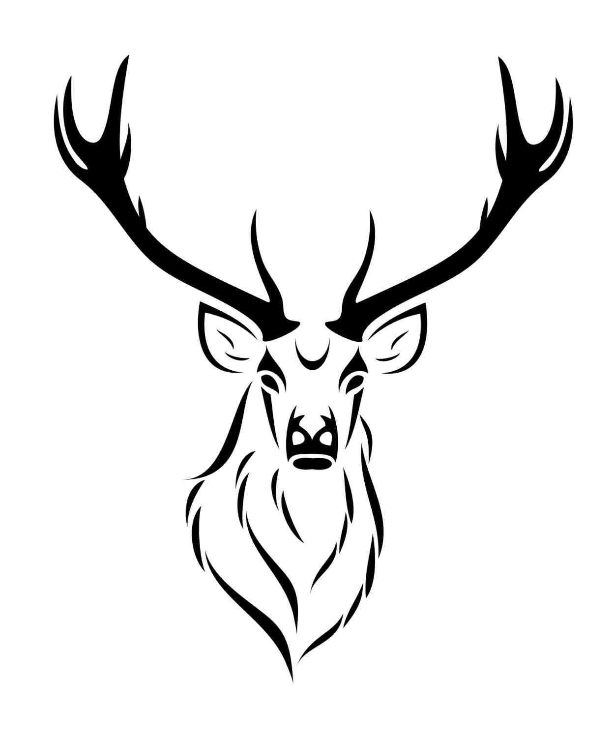 Drawing of a deer. Antler clipart easy
