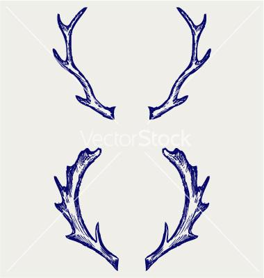 Antlers clipart easy. Deer antler drawing at