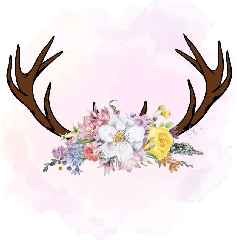 Pink floral antlers png. Antler clipart feather