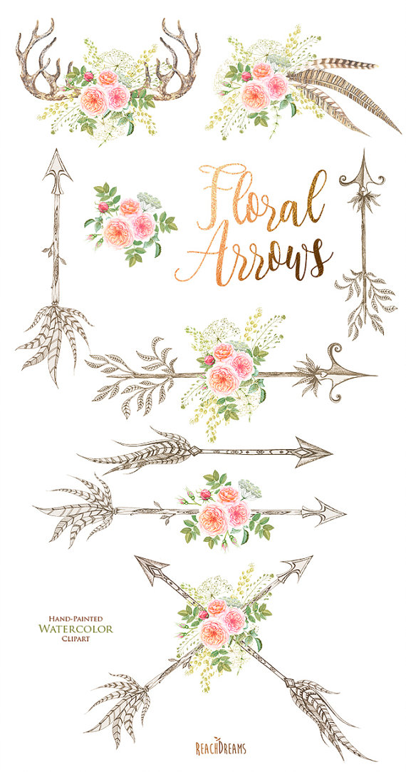 Watercolor flowers feathers horns. Antler clipart feather