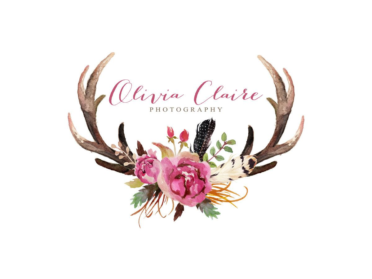 Floral designer logos masculine. Antlers clipart feather