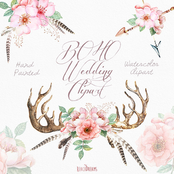 Watercolor wedding clip art. Antlers clipart feather
