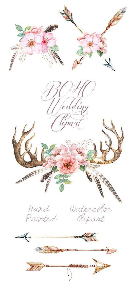 Watercolor wedding clip art. Boho clipart antler