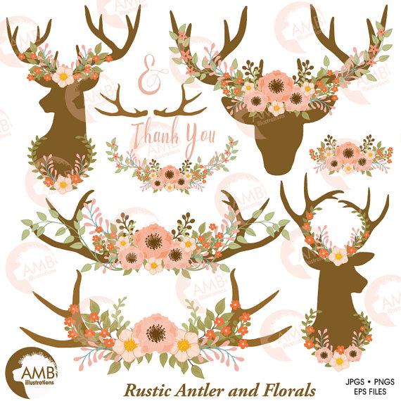 Wedding clip art floral. Antler clipart file