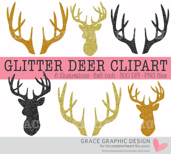 Antlers clipart stag. Glitter deer silhouettes gold