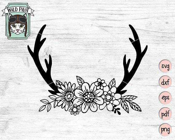 Antler clipart file. Floral deer antlers svg