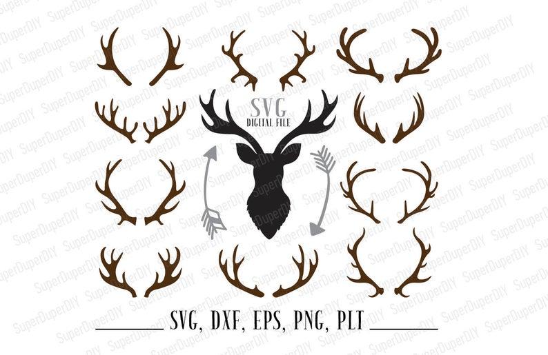 Deer svg horn dxf. Antler clipart file