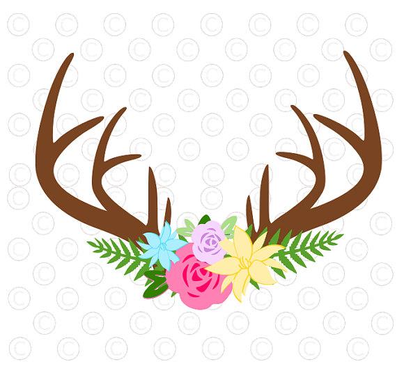 Floral antler svg cut. Antlers clipart file