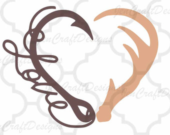 Heart fishing etsy interlocking. Antler clipart fish hook