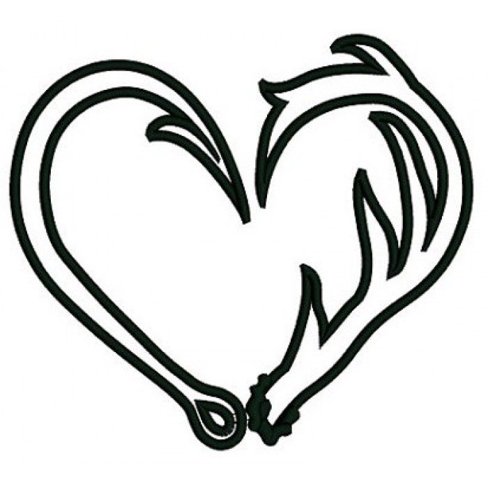 Antler clipart fish hook. Heart drawing cricut projects