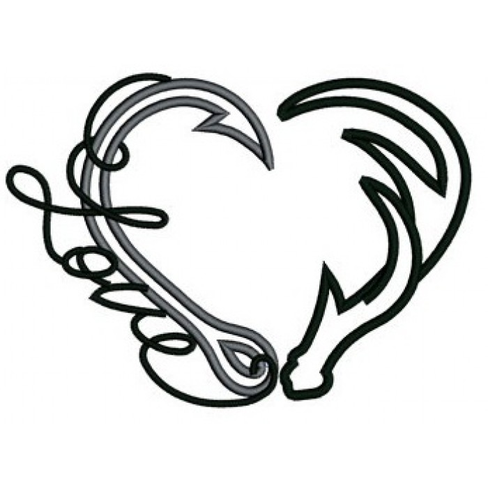 Pencil heart drawing at. Antler clipart fish hook