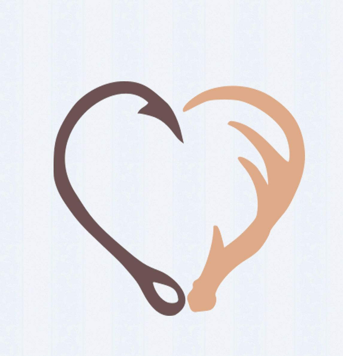 Antler clipart fish hook. Interlocking and svg heart