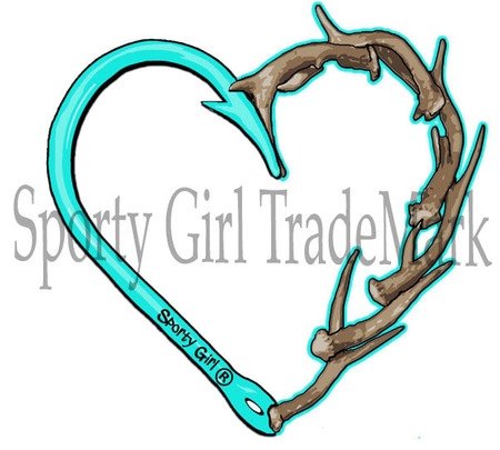 Sporty girl apparel mint. Antler clipart fish hook