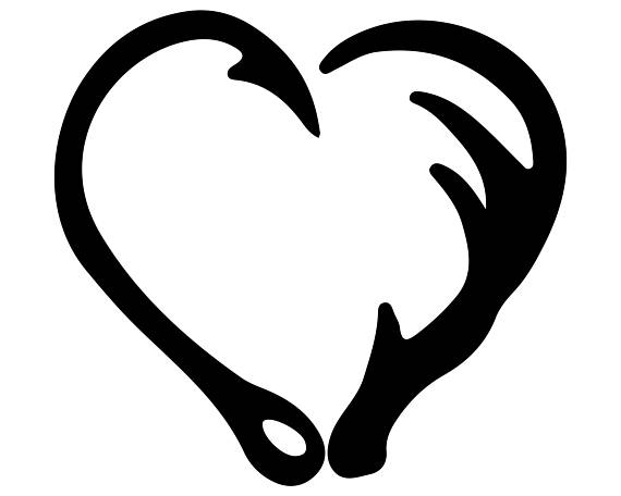Svg and heart silhouette. Antler clipart fish hook