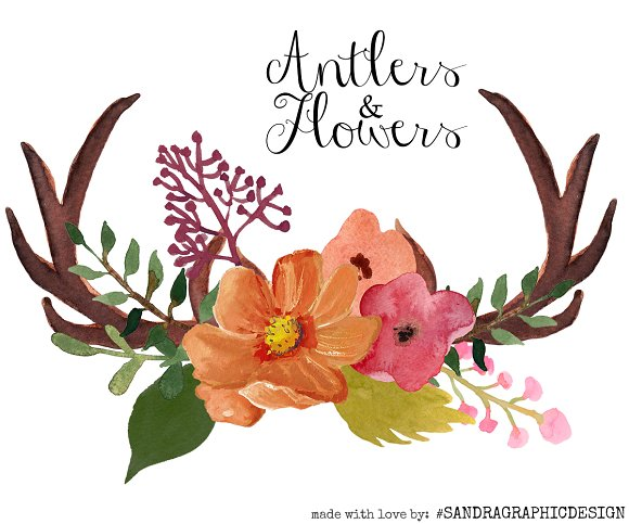 Antlers and flowers clip. Antler clipart flower