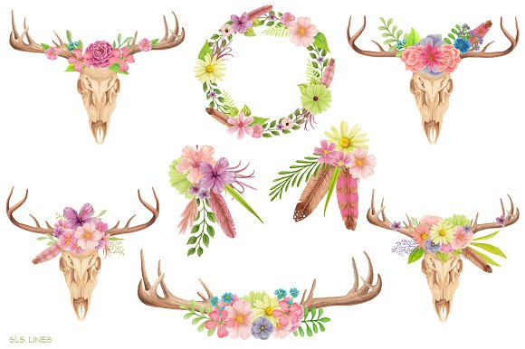 Antlers clipart flower. Skull watercolors illustrations creative