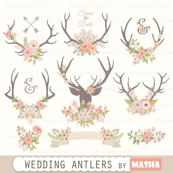 Antler clipart flower. Antlers wedding with