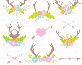 Flowers png etsy . Antlers clipart flower crown