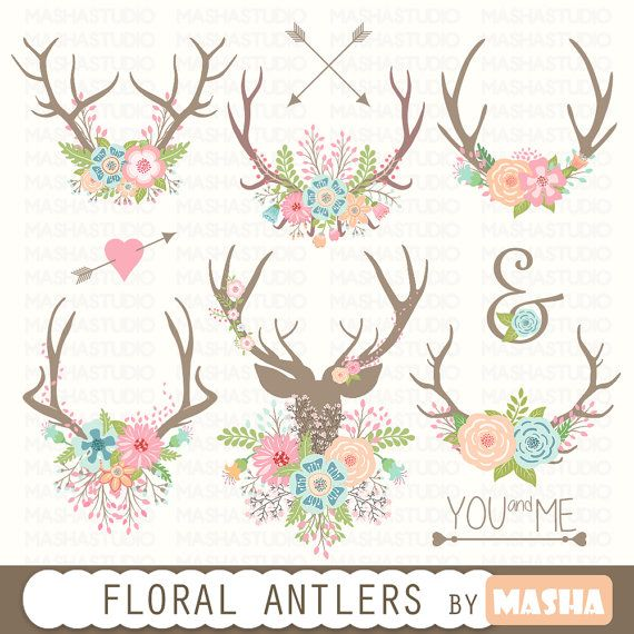 Antler clipart flower crown. Floral antlers bouquet by