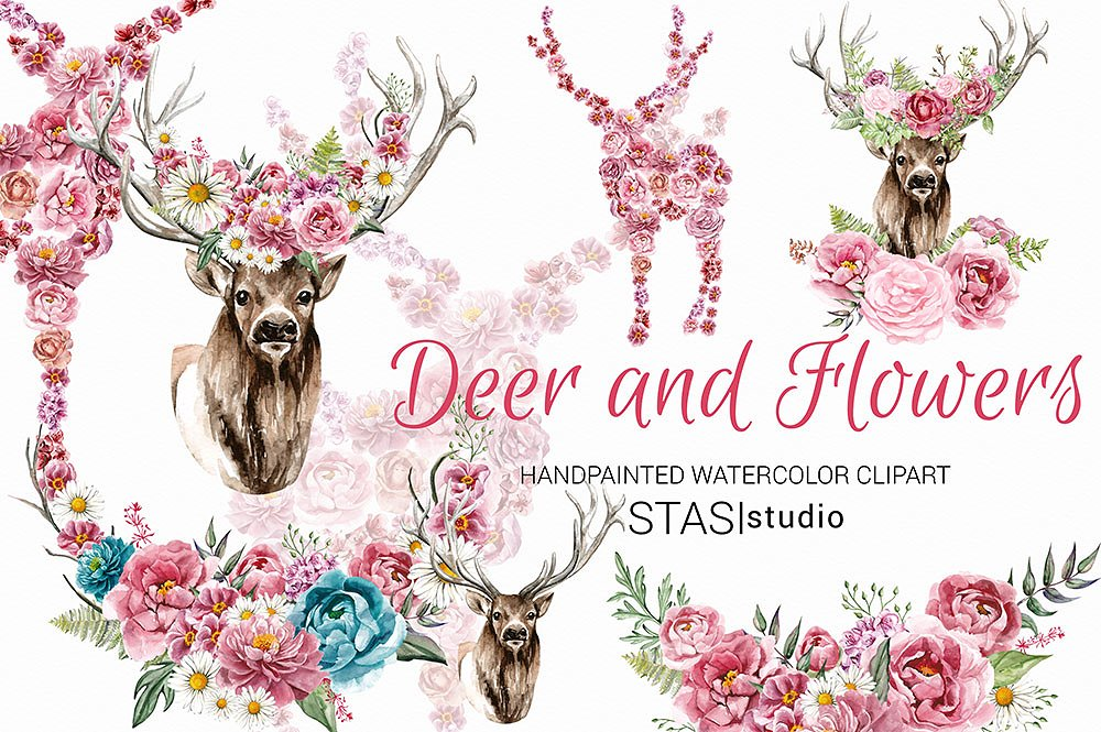 Antlers clipart flower crown. Deer with floral illustrations