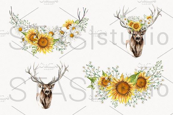 Deer sunflowers illustrations creative. Antler clipart flower crown