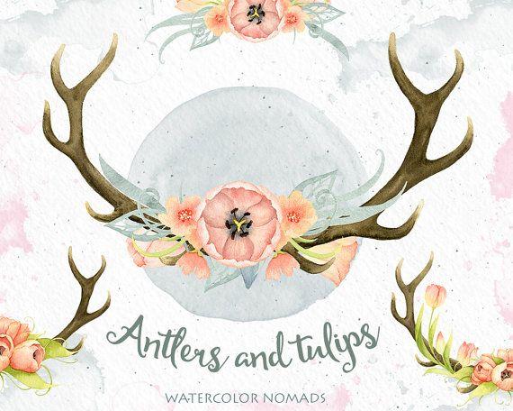 Watercolor deer antlers stock. Antler clipart flower crown
