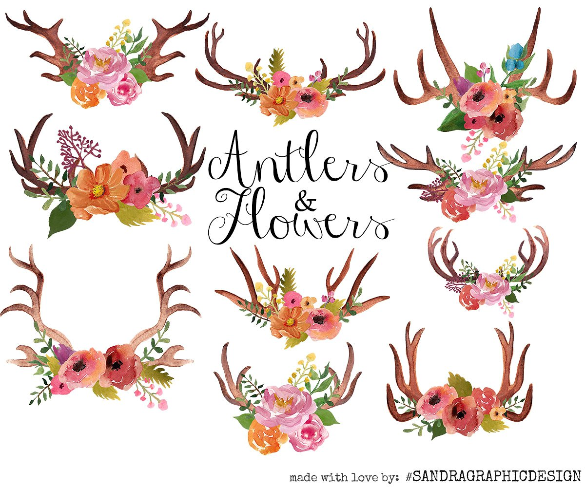 Boho clipart antler. Antlers and flowers clip