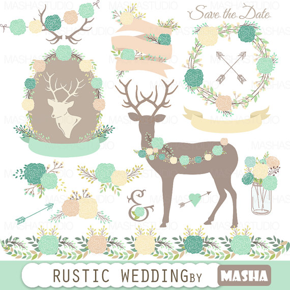 Wedding rustic with peonies. Antlers clipart frame