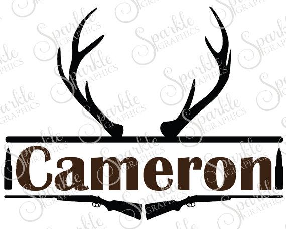 Hunting monogram antler deer. Antlers clipart frame