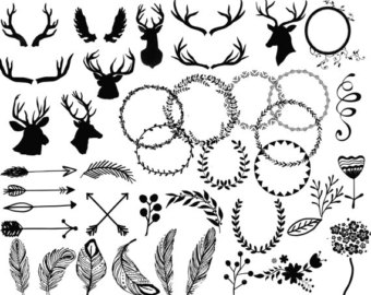 off deer head. Antlers clipart black and white