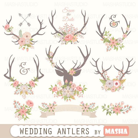 Wedding with . Antlers clipart frame