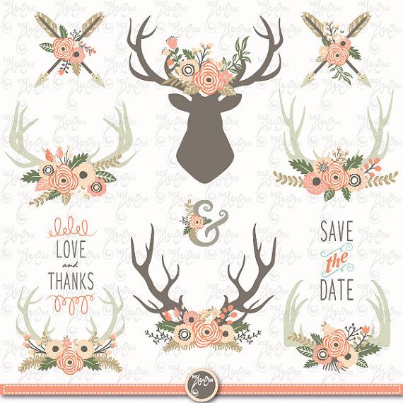 Antlers clipart vintage. Wedding clip art floral