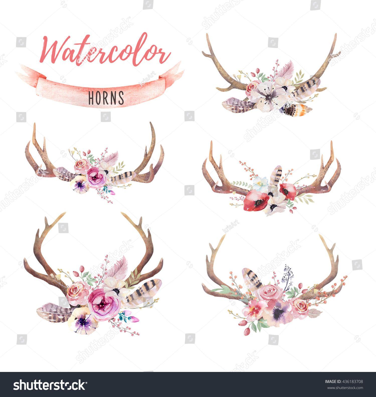 Watercolor bohemian deer horns. Antler clipart hipster