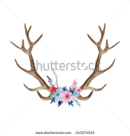 Watercolor floral hand drawn. Antler clipart hipster